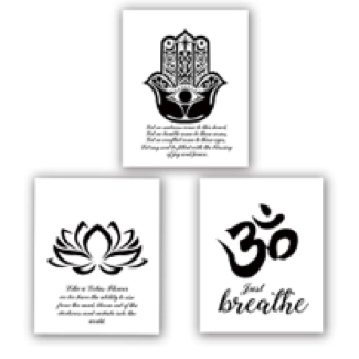 triple art prints yoga symbols