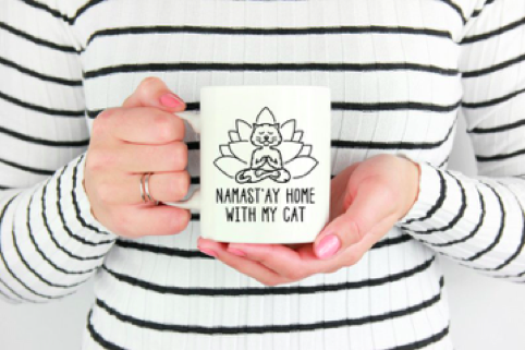 lotus cat black linear cup pattern